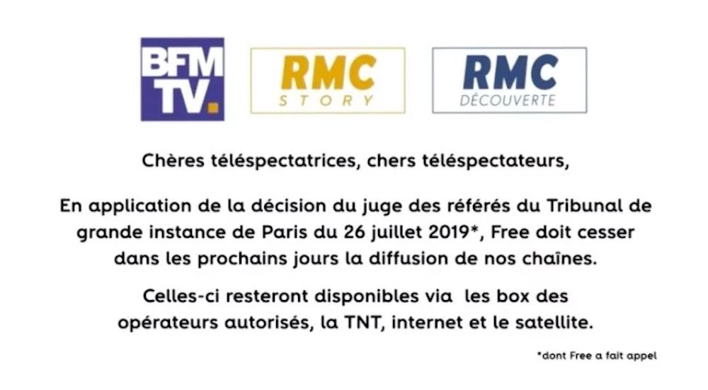Message BFMTV Coupure Free