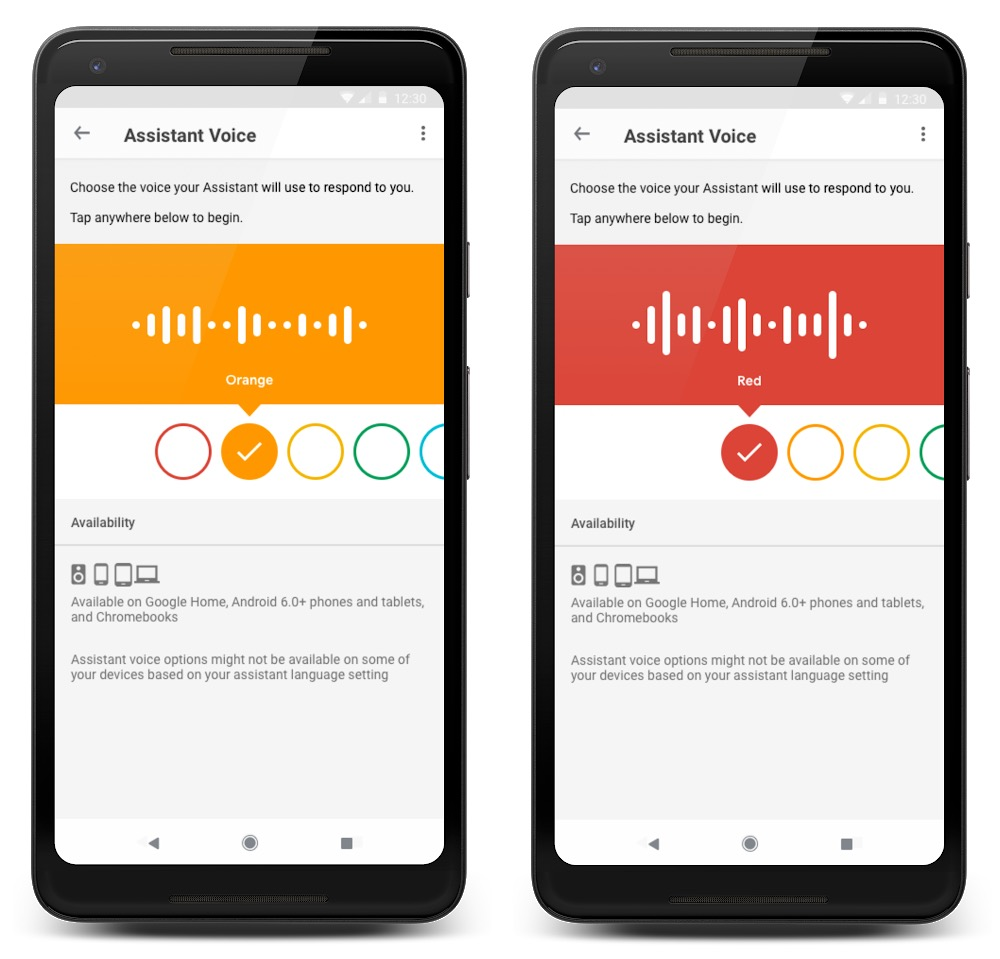 Google Assistant Coloris Voix