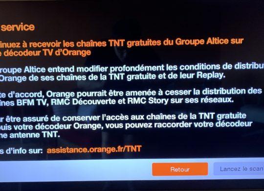 Message Orange Coupure Potentielle BFM TV