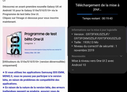 Android 10 Beta Galaxy S10 France