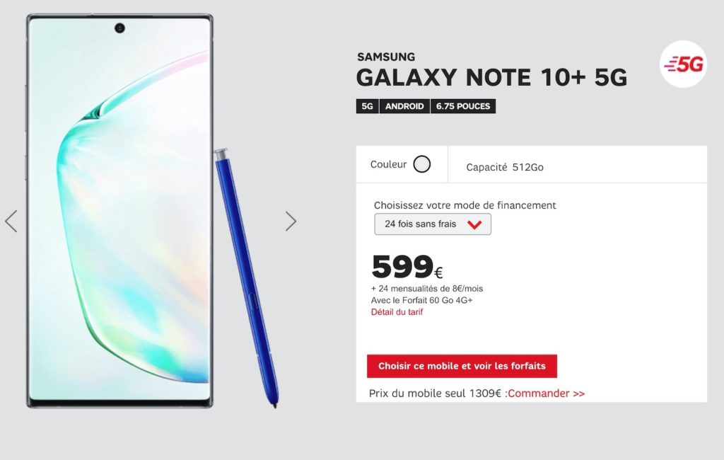 Galaxy Note 10 Plus 5G SFR 1024x650