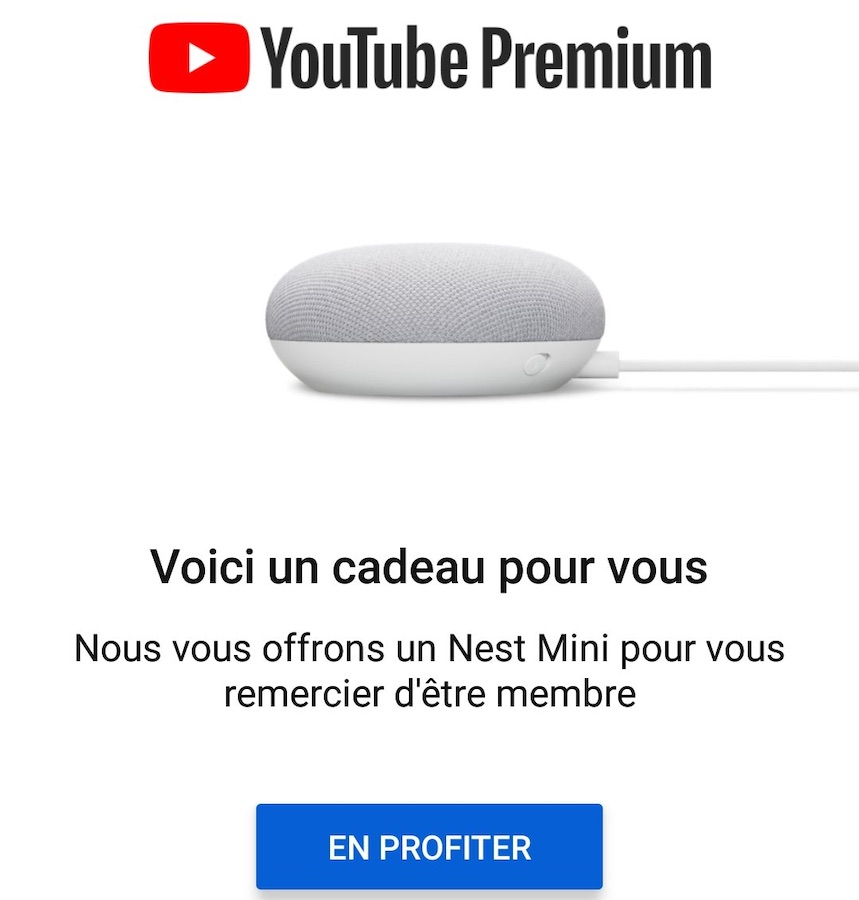 Nest Mini Offert YouTube Premium