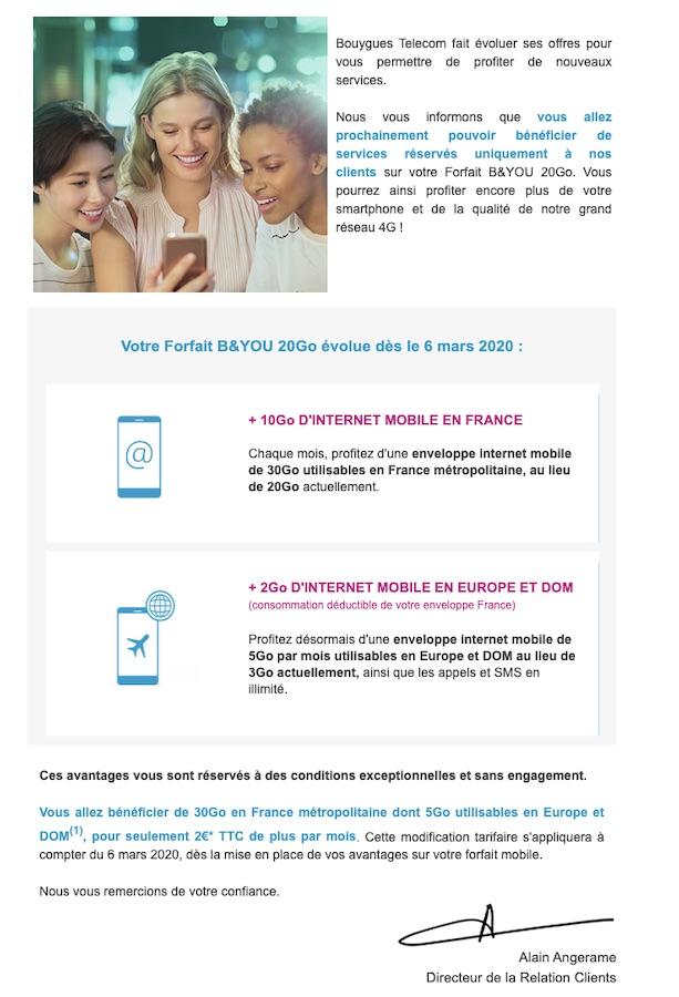 Bouygues Telecom Hausse Prix Obligatoire 2020