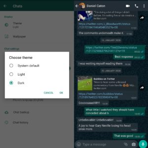 Image article WhatsApp : le mode sombre maintenant disponible en bêta