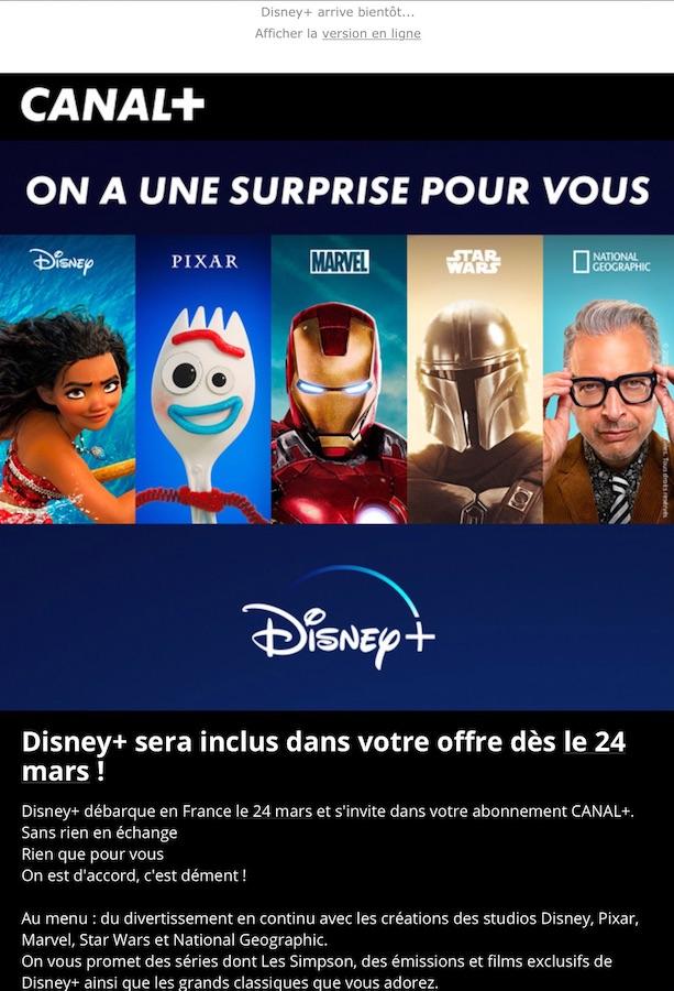 Email Disney Plus Gratuit Canal Plus