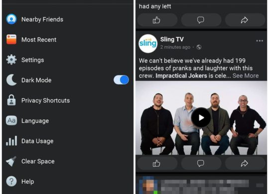 Facebook Lite Mode Sombre Application Android