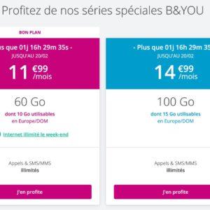 Image article [#Promo] Forfait B&You 60 Go + Internet illimité le week-end à 11,99€/mois à vie