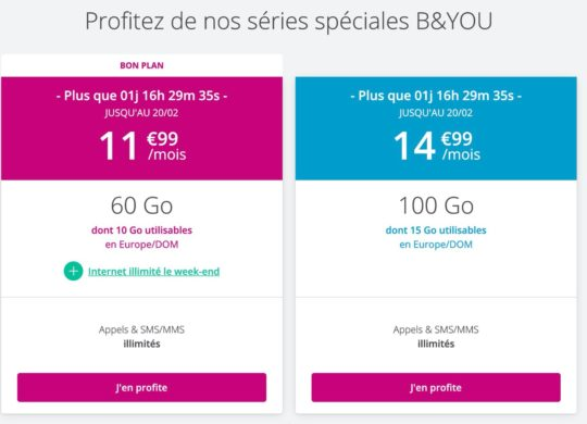 Promo Forfait Bouygues Fevrier 2020