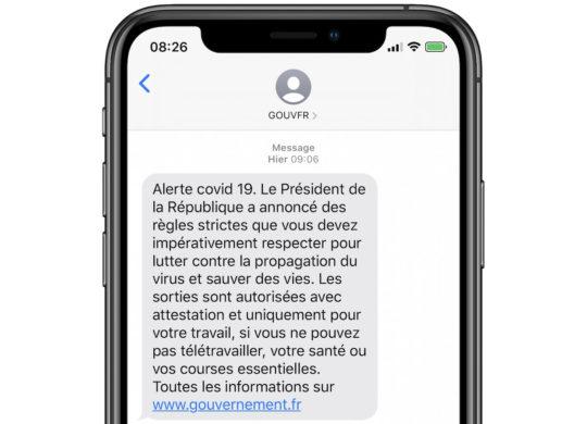 Coronavirus Alerte SMS Gouvernement