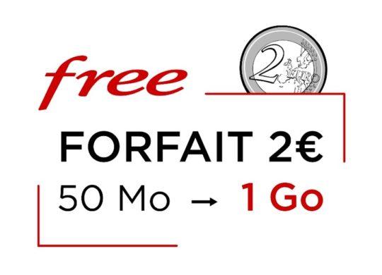 Free Mobile Forfait 2 Euros 1 Go