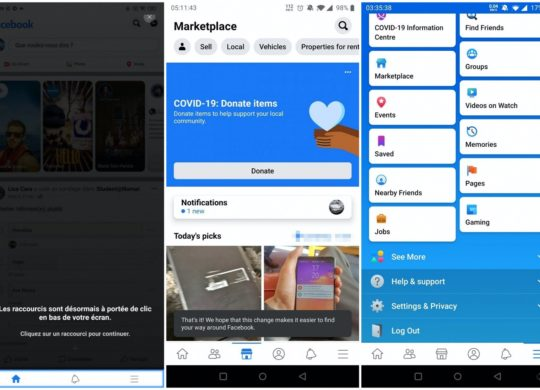 Facebook Android Barre Navigation Bas Ecran