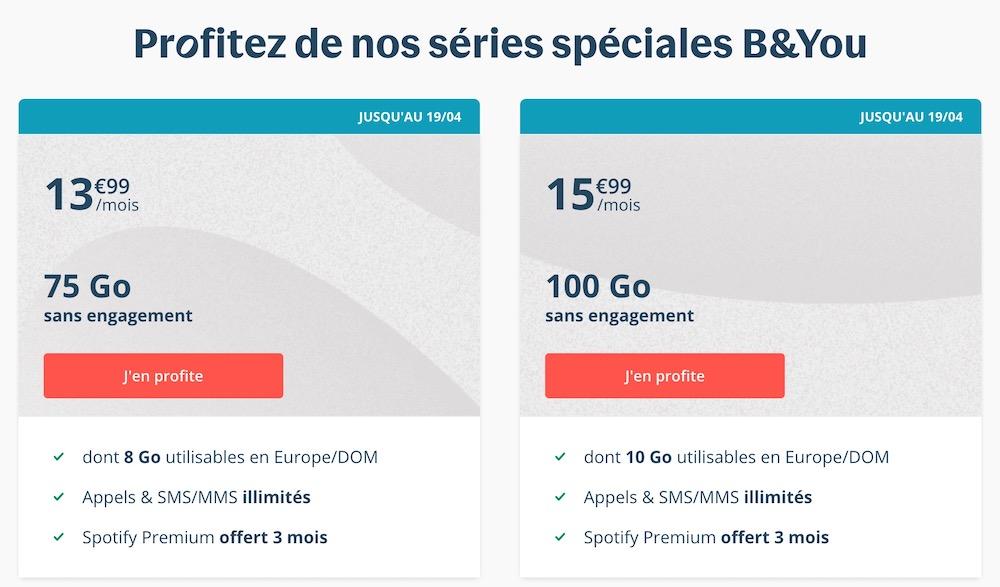 Promo Forfait Bouygues 75 Et 100 Go