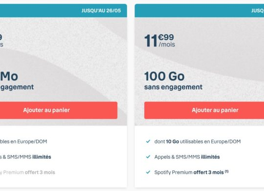 Promo Forfait 100 Go Bouygues Mai 2020