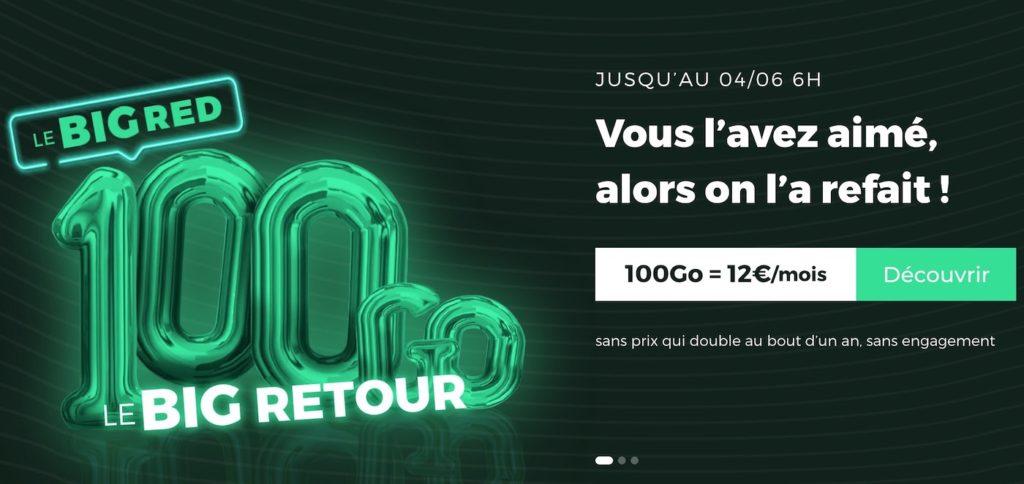 SFR RED Forfait 100 Go Promo Mai 2020 1024x484