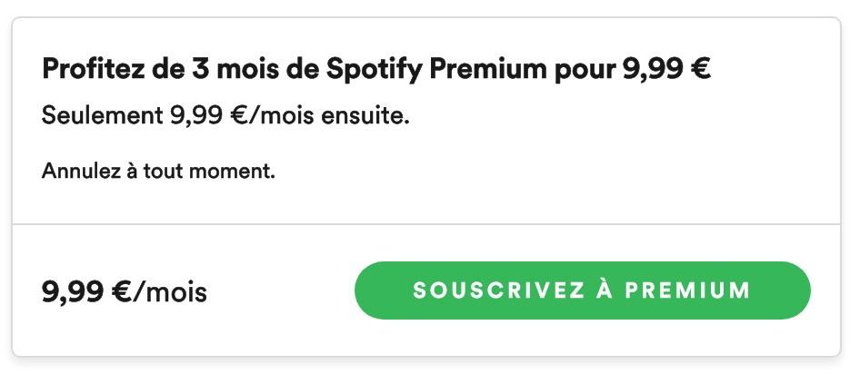 Spotify Premium 3 Mois 10 Euros Mai 2020