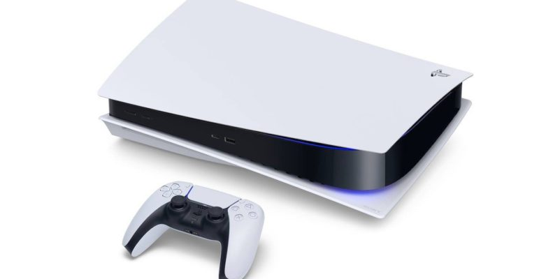 PlayStation 5 Couchée Horizontale et Manette DualSense PS5