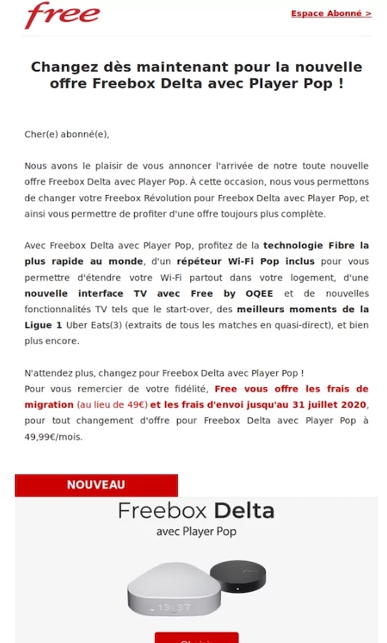 Free Mail Migration Freebox Revolution Vers Delta Et Pop