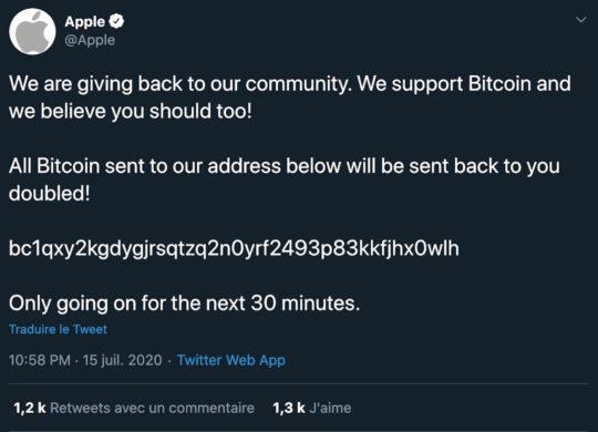 Piratage Twitter Bitcoin Tweet