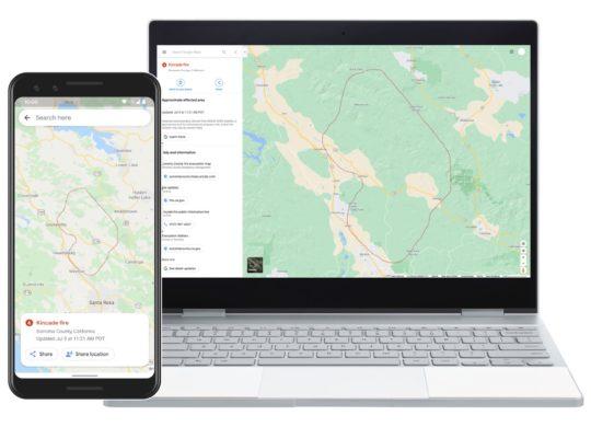 Google Maps Feux de Forets Informations