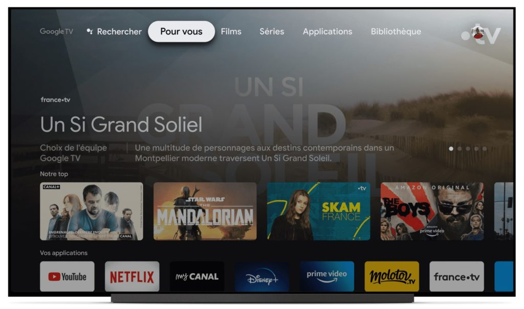 Google TV Interface Francaise 1024x604
