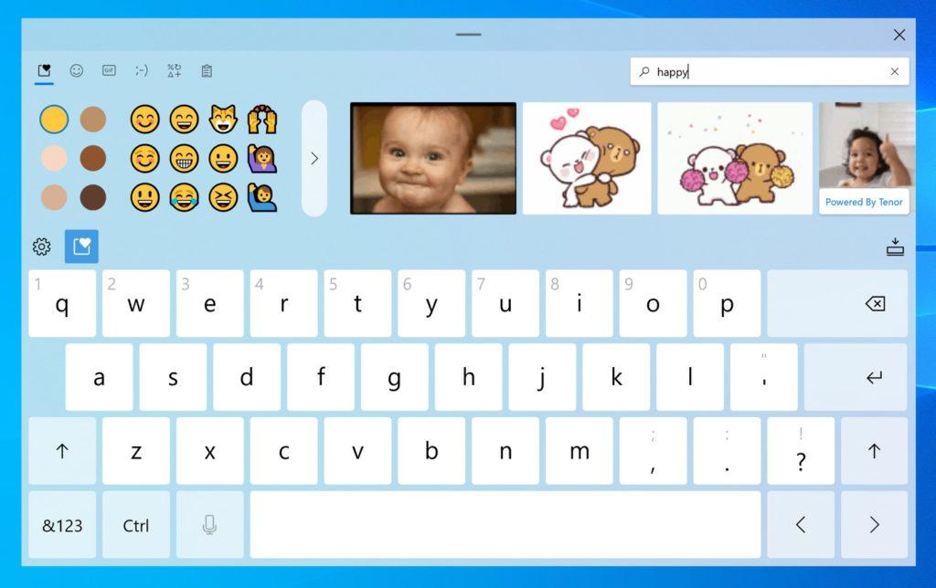 Windows 10 Nouveau Clavier Tactile Recherche Emojis GIF 1024x644