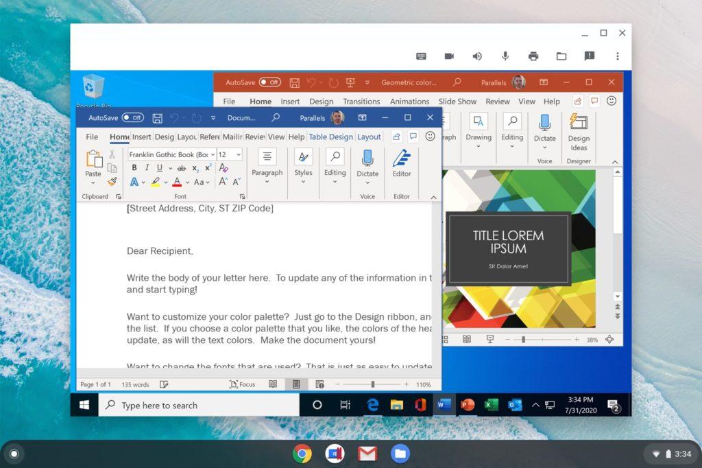 Chromebook Chrome OS Application Windows Parallels Desktop 2