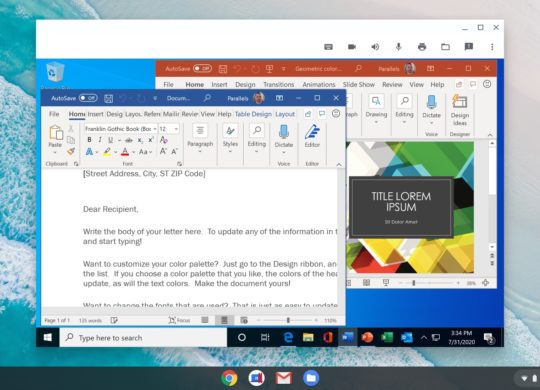 Chromebook Chrome OS Application Windows Parallels Desktop 2
