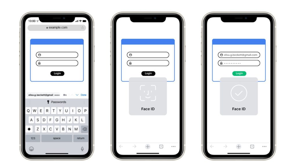 Google Chrome Formulaires Face ID