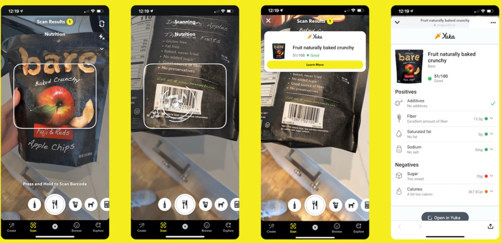 Snapchat Scan Code Barre Aliments