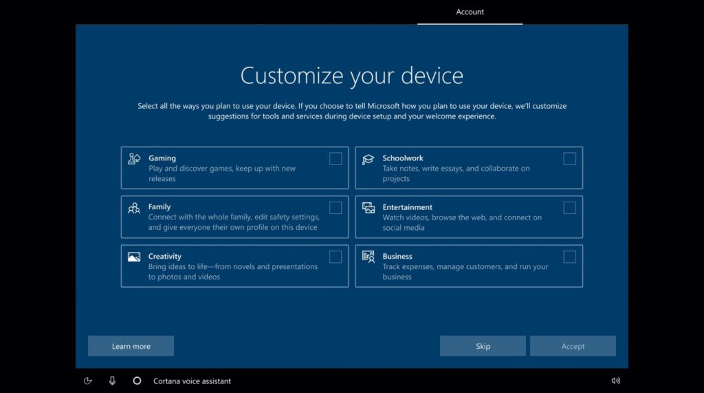 Windows 10 écran de configuration avec optimisation des performances selon l'usage