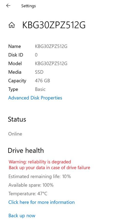 Windows 10 Etat Sante SSD
