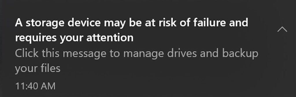 Notification de Windows 10 pour la panne d'un SSD
