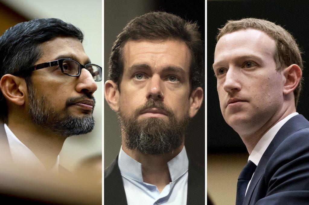 photo des CEO de Google, Twitter et facebook
