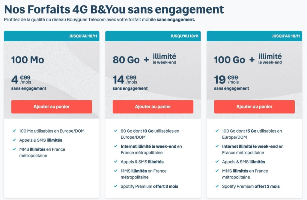 Bouygues Telecom Forfaits Internet Illimite Week-end Novembre 2020