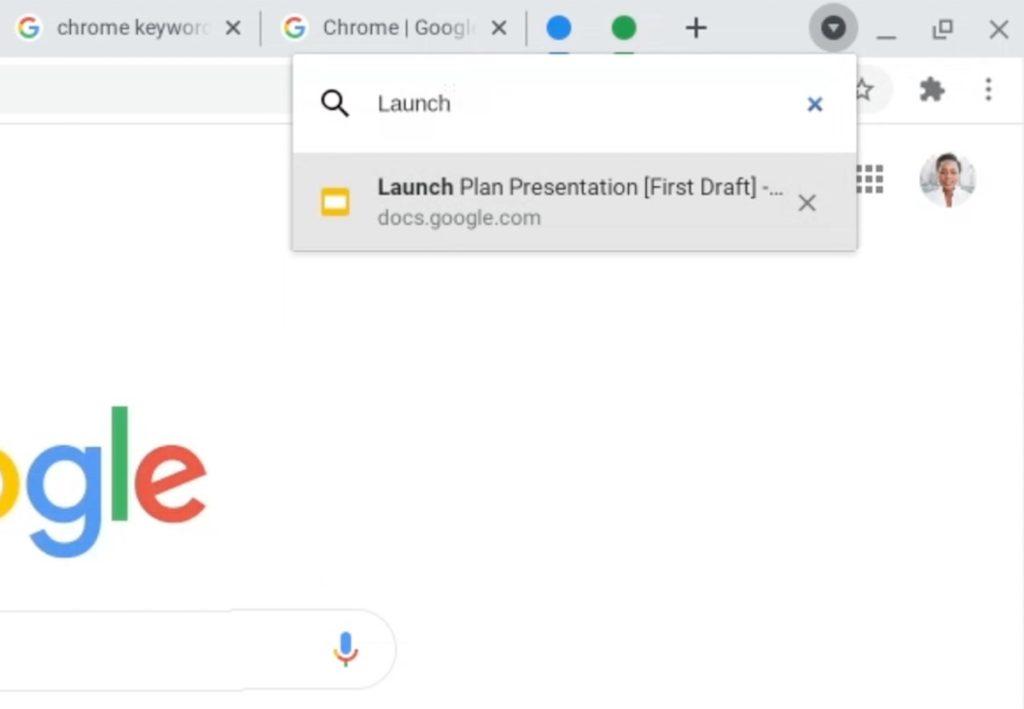 Chrome 87 Recherche Onglets Ouverts
