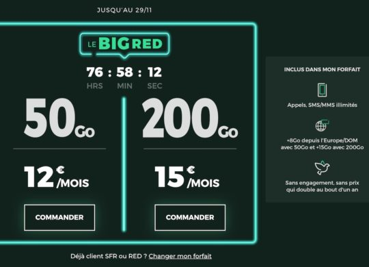 SFR RED Promo Black Friday Novembre 2020
