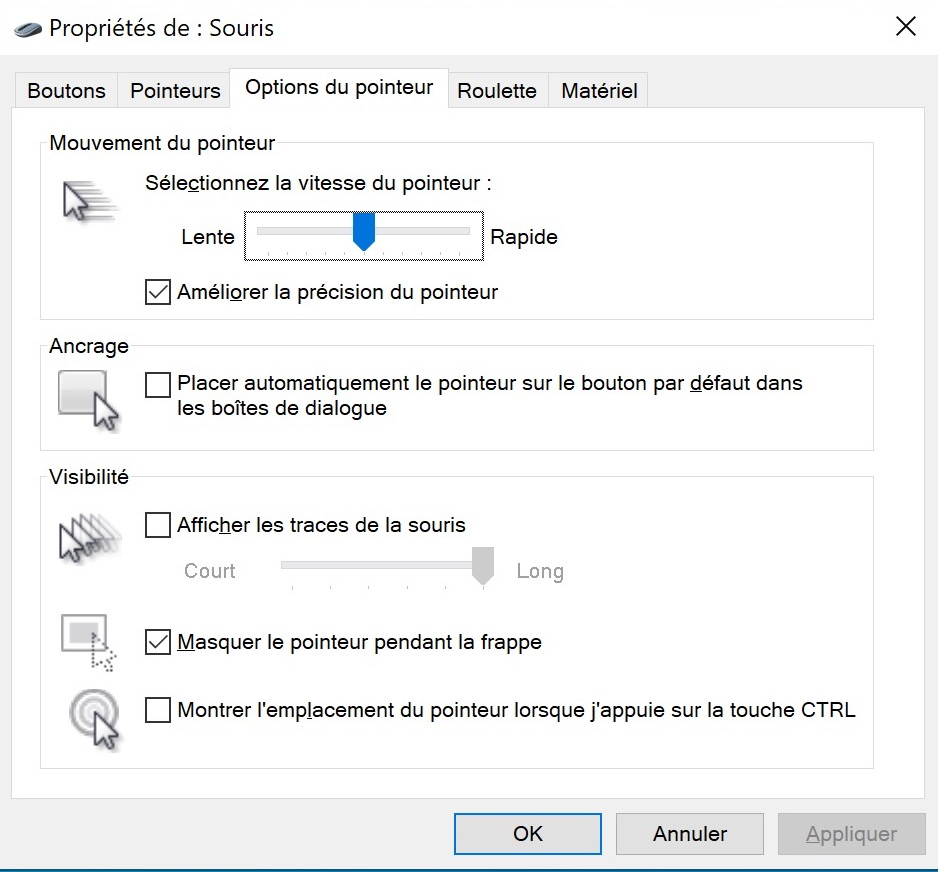 Windows 10 Curseur Souris Touche CTRL
