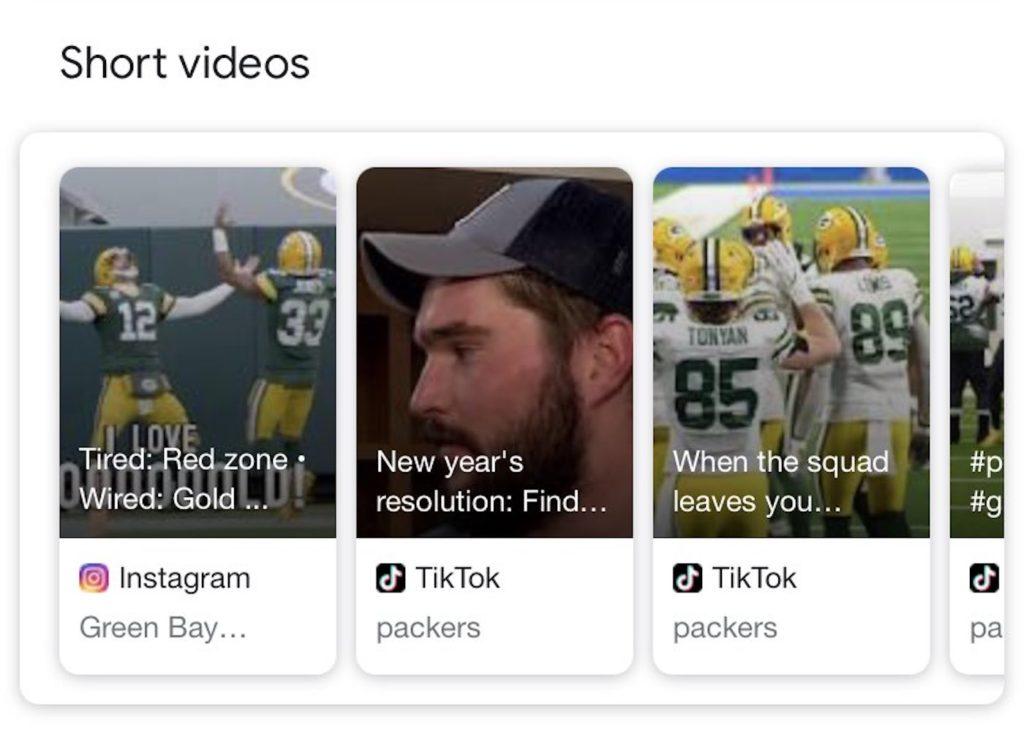 Google Carrousel Courtes Videos TikTok Instagram