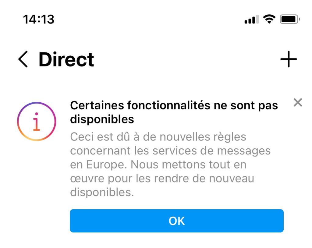 Instagram Fonctions Desactivees Europe