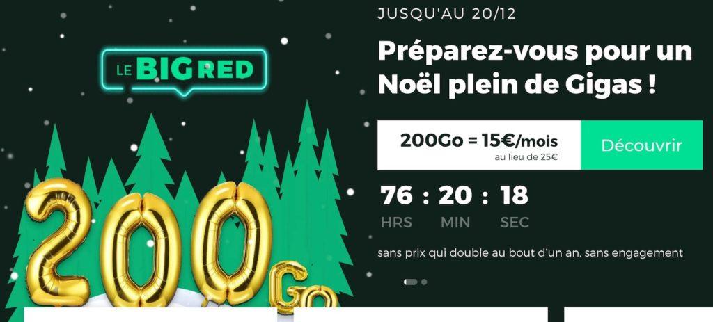 SFR RED propose son forfait 200 Go à 15€/mois pour Noël