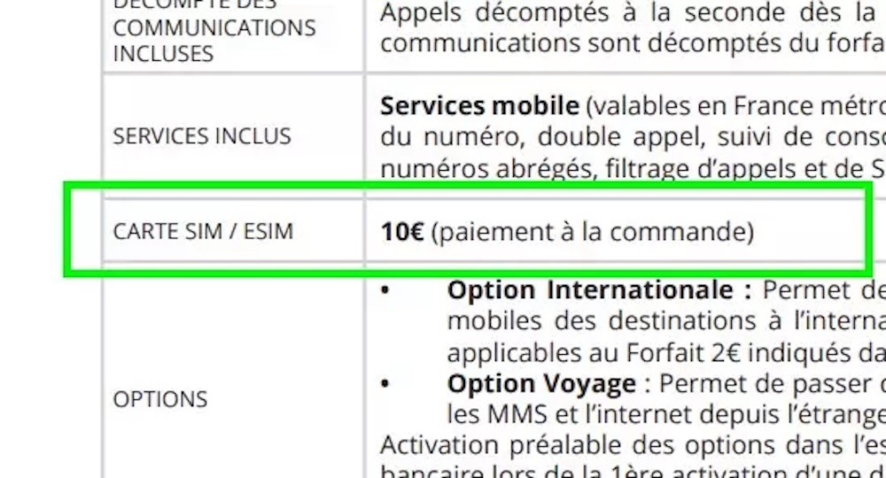 eSIM Free Mobile Brochure Tarifaire