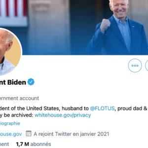 Image article Twitter : Joe Biden récupère @POTUS, mais pas les abonnés de Donald Trump
