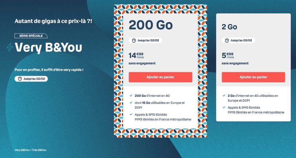 Soldes 2021 : forfaits B&You 200 Go à 14,99€, Sosh 60/100 Go dès 13,99€