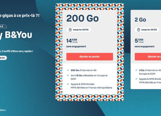 Promo Forfait Bouygues Telecom 200 Go Janvier 2021