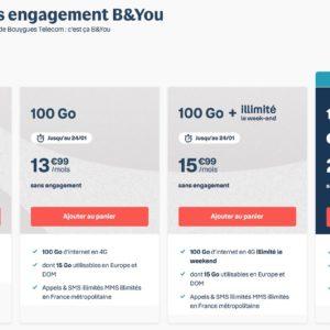 Image article [#Promo] Bouygues Telecom propose ses forfaits 100 Go dès 13,99€/mois