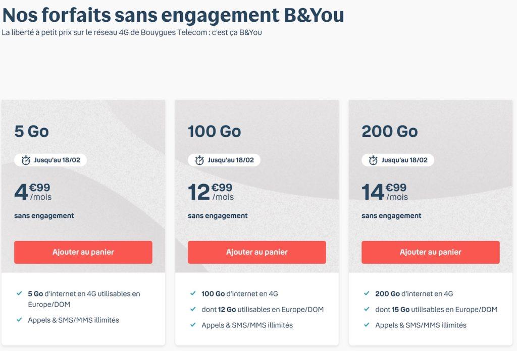 B&You Promo Forfaits 100 et 200 Go Fevrier 2021