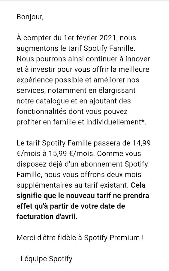 Email Spotify Hausse Prix Offre Famille