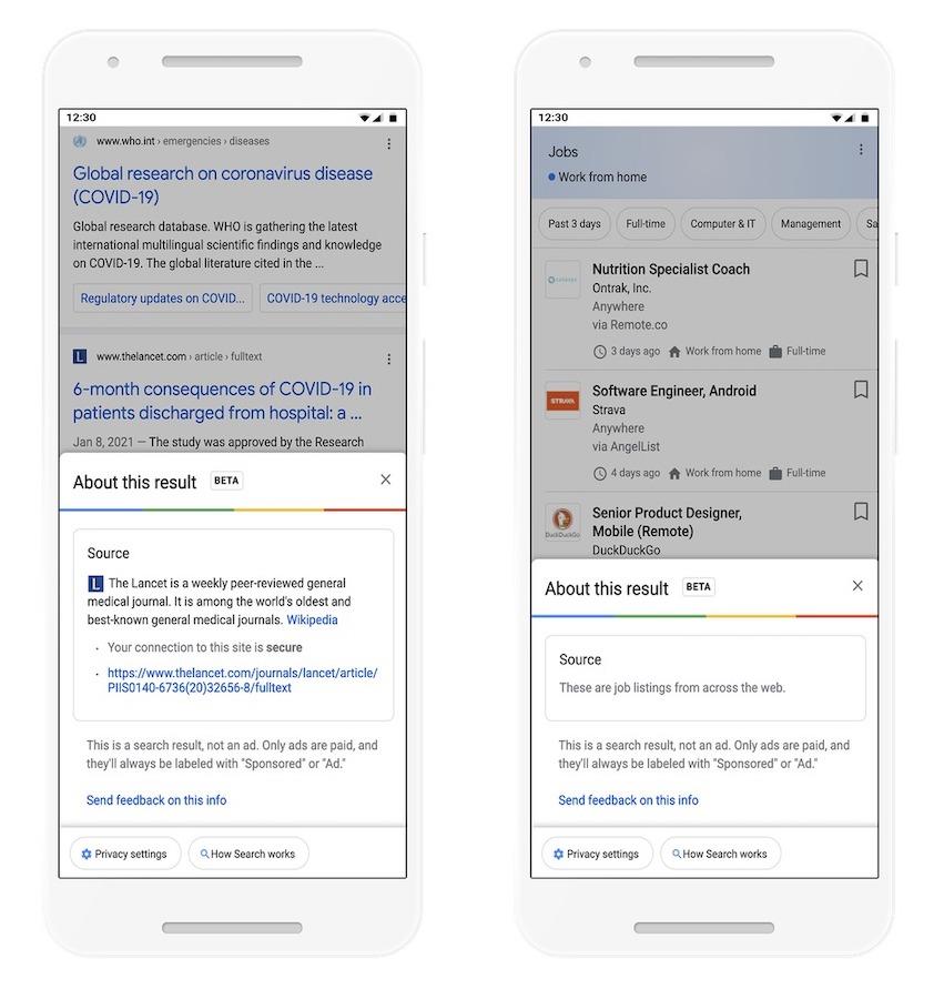 Google ajoute des infos sur les sites depuis les résultats de recherche