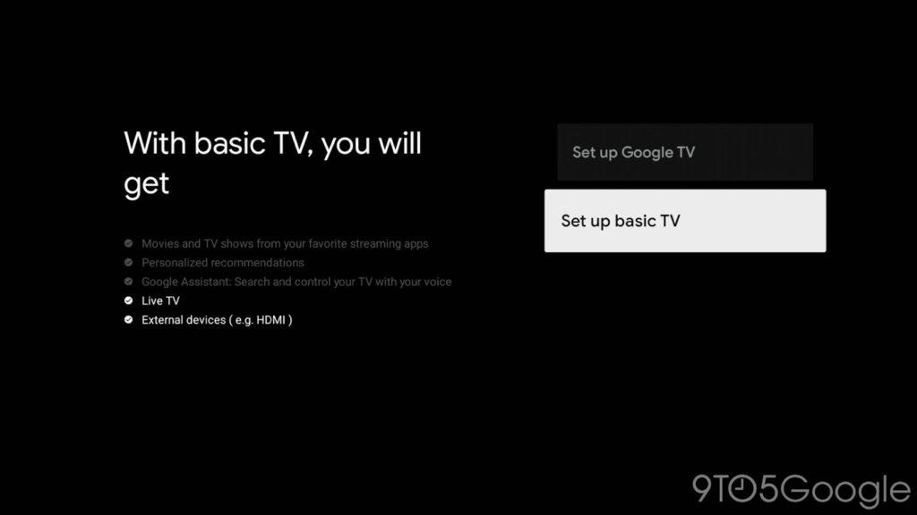 Google TV Mode Basique TV