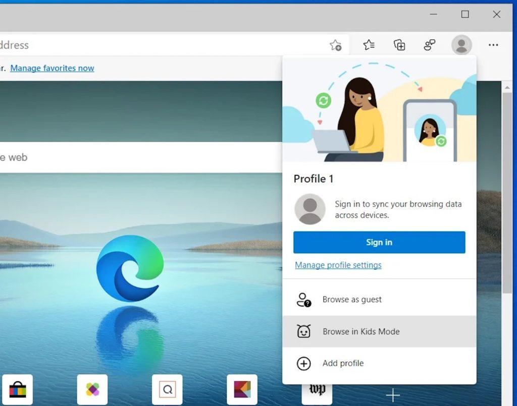 Microsoft Edge Mode Enfants